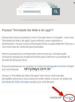 excluir histórico da web Google 5