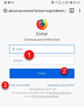 Login Firefox Sync Android