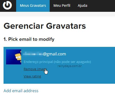 Remover imagem associada ao email Gravatar