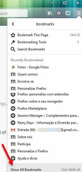 Show All Bookmarks Gerenciador de Favoritos Firefox