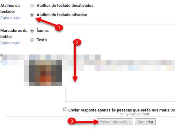 Atalhos de teclado para o Gmail, opção ativada nas configurações