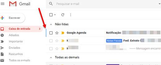 Traço azul ao lado dos emails quando ativa atalhos do Gmail