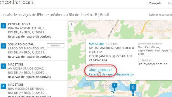 visualizar assistência Apple no mapa