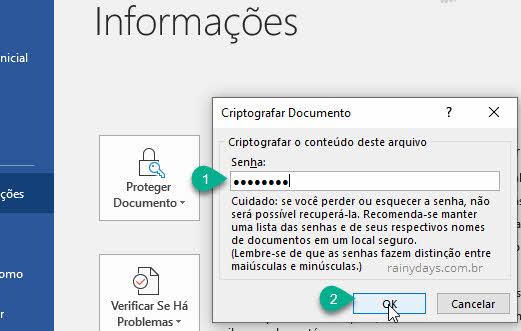 Criptografar o conteído deste arquivo com senha Word