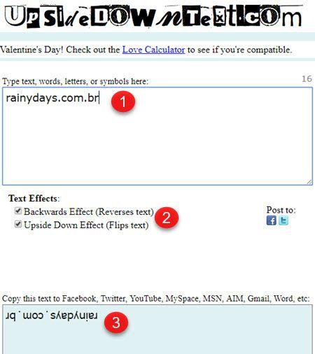Escrever de cabeça para baixo no Twitter, Facebook e WhatsApp