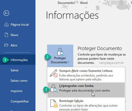 Proteger documento criptografar com senha Word