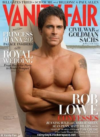 Rob Lowe sem camisa na Vanity Fair