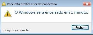 Windows será desligado dentro de tantos minutos
