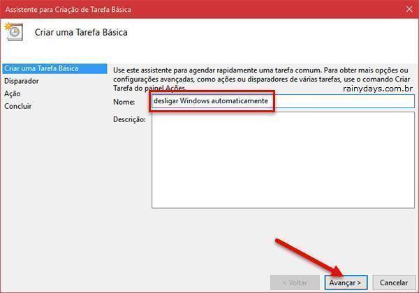 Criar tarefa básica para programas Windows para desligar