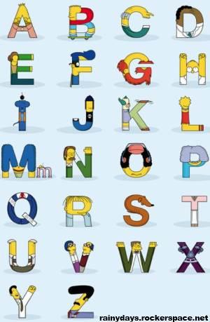 Simpsons na forma de letras do alfabeto Simphabet