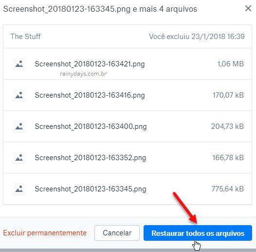 Como recuperar arquivos apagados no Dropbox