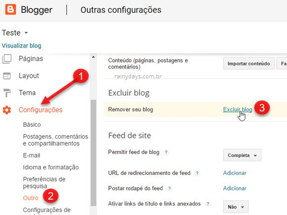 Como cancelar conta do Blogger