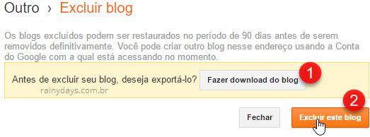 Como cancelar conta do Blogger 2