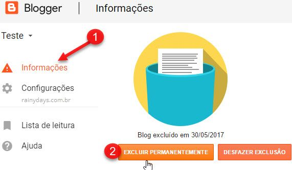 Como excluir conta do Blogger permanentemente