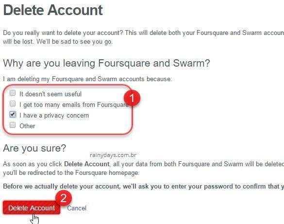 Como excluir conta do Foursquare