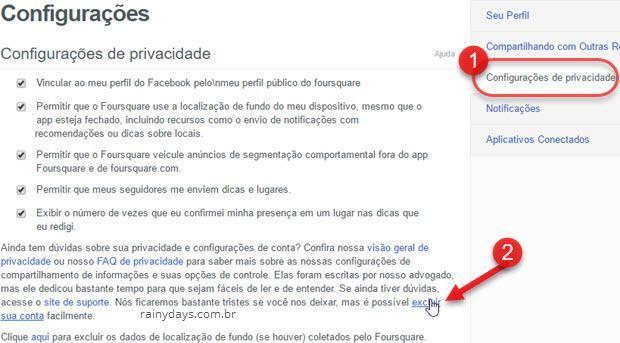 Configuracões privacidade excluir sua conta Foursquare