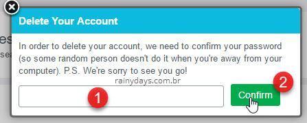 excluir permanentemente conta do Foursquare