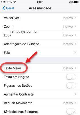 Acessibilidade Texto Maior iOS