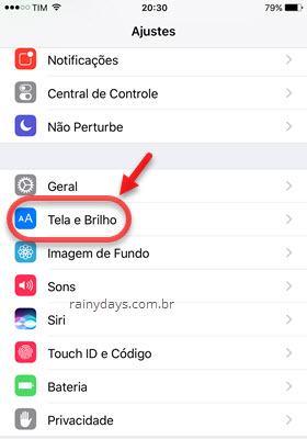 Ajustes Tela e Brilho iOS