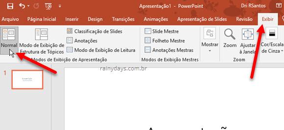 Opção Exibir Normal no Power Point Microsoft Office