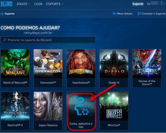 suporte Blizzard conta, aplicativo e loja