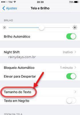 Tamanho do Texto iOS
