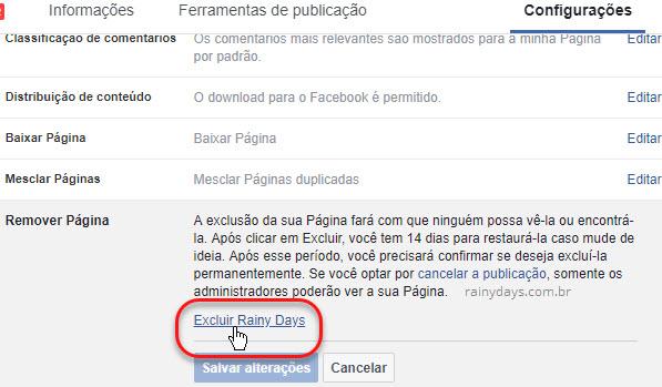 Como excluir página no Facebook