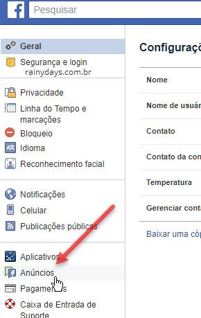 Configurações de anúncios Facebook