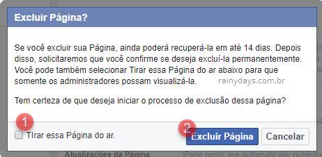 excluir página de site empresa no Facebook