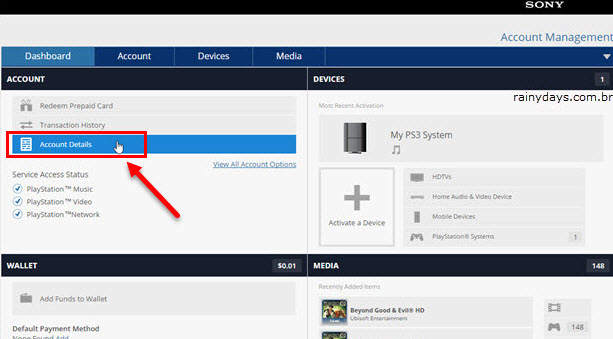Account Details detalhes conta PSN conta Sony, imagem do site