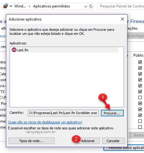 Adicionar aplicativo no Windows Defender Firewall