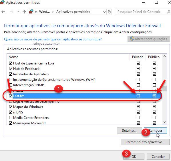 Aplicativos e recursos permitidos no firewall Windows