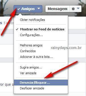 bloquear pessoa no facebook
