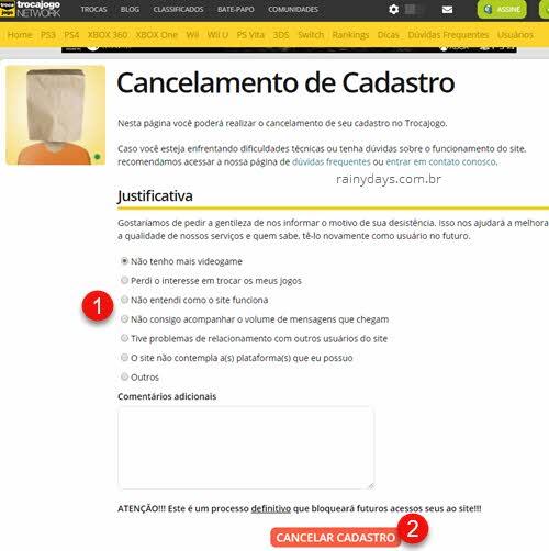Como cancelar conta do TrocaJogo