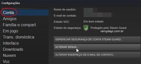 Como mudar senha do Steam 2
