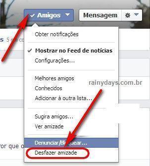 Desfazer amizade Facebook