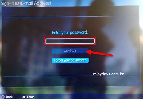 digitar senha da PSN no Playstation