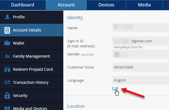 editar identidade conta Sony PSN