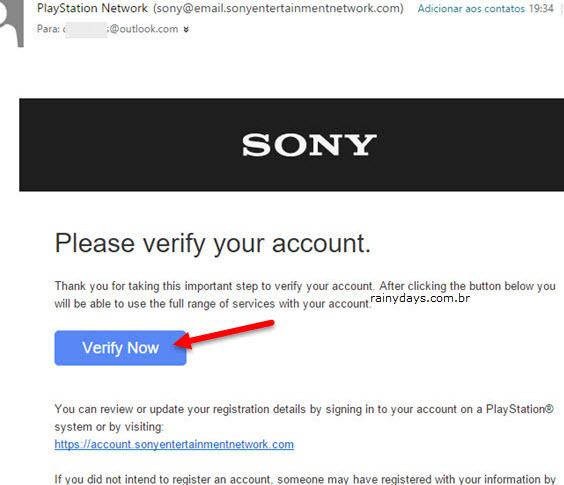 Email de verificação e confirmação conta Sony PSN