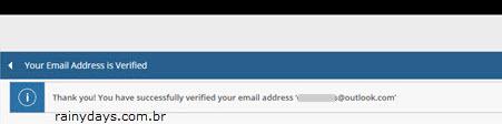 email verificado com sucesso conta Sony PSN