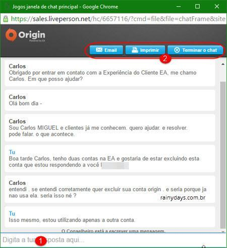Excluir conta da Origin EA