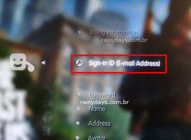 ID de início de sessão endereço email PSN Playstation
