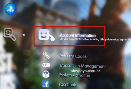 informação de conta PSN Playstation 4