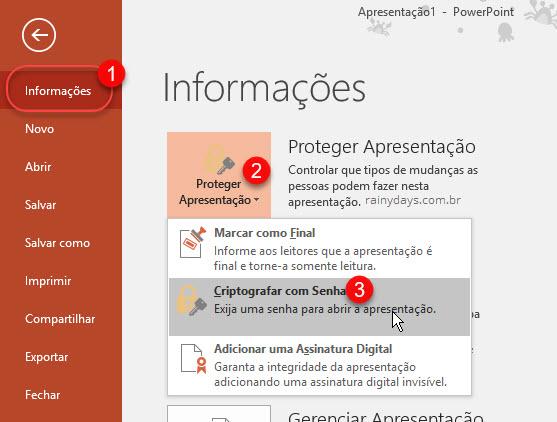 Informações Proteger apresentação Criptografar com senha Office