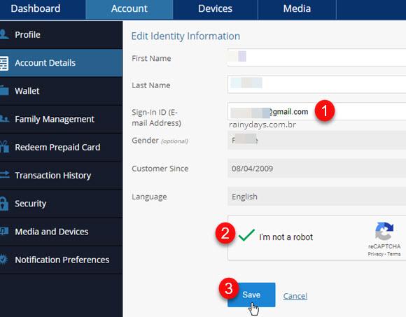 Imagem do site mostrando como modificar email da PSN pelo site conta Sony