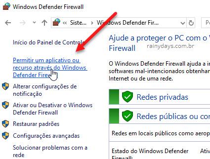 Permitir aplicativo ou recurso no Windows Firewall
