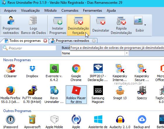 Revo Uninstaller Pro desinstalação forçada Windows
