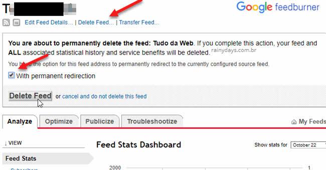 Apagar feeds Feedbuner Google cancelar conta