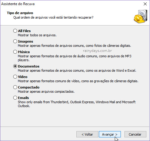 Assistente Recuva tipo de arquivo para recuperar no Windows