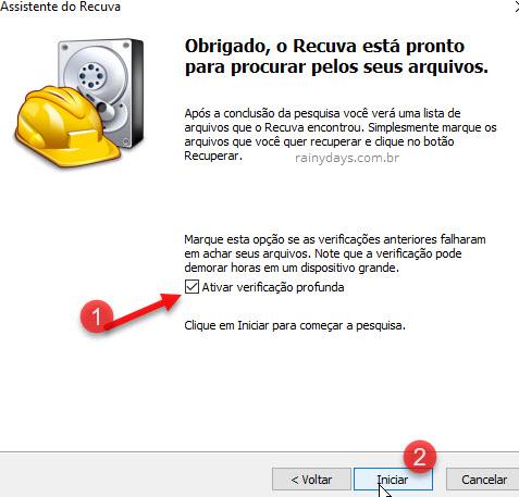Ativar verificação profunda Recuva Windows recuperar arquivos
